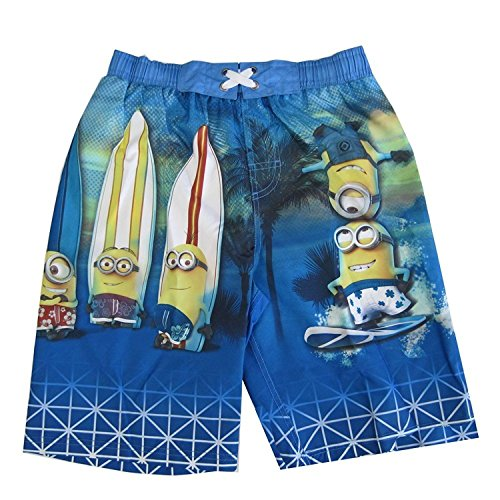 Minions Little Boys Sky Blue Surfin Cartoon Character Swimwear Shorts 4-5 -