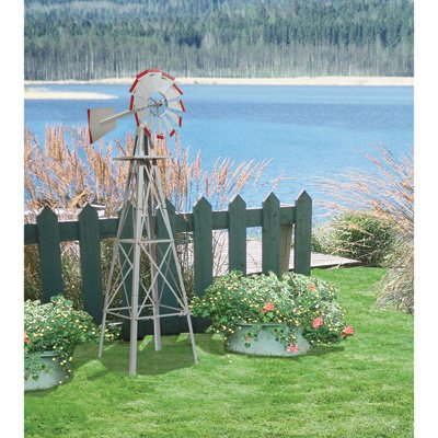 (Kotulas 4ft. Ornamental Windmill, Galvanized with Red Tips)