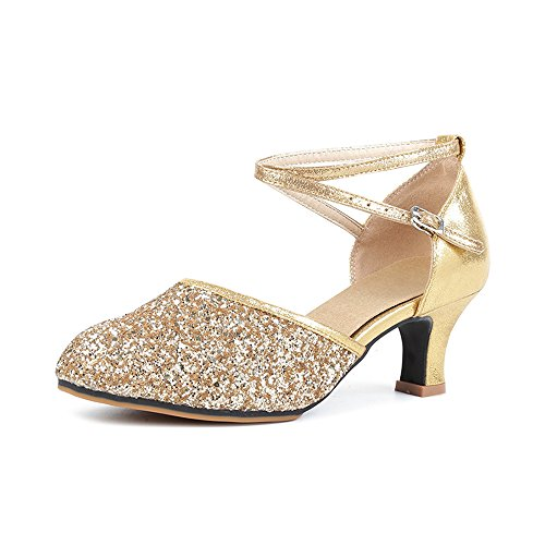 Womens Latin Heel Toe Sequined OCHENTA Dance Kitten Ballroom Leather Rubber Dazzle Shoes Pointed AI0d0qwY