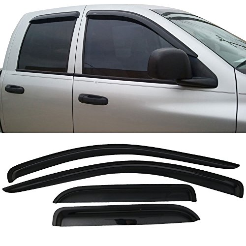 Window Visor fits 2002-2009 Dodge Ram Quad Cab | Slim Style A Grade Acrylic Unpainted Black Sun Rain Shade Guard Wind Vent Air Deflector by IKON MOTORSPORTS | 2003 2004 2005 2006 2007 2008 (Dodge Ram 3500 Cab Chassis)