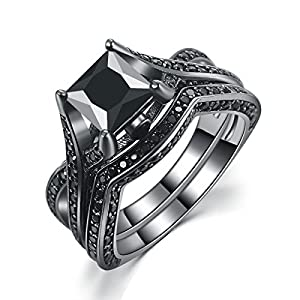 Caperci Black Gold Plated Princess Cut Created Black Diamond Engagement Wedding Bridal Rings Set