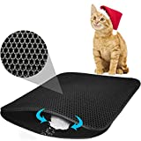 TOOGOO Cat Litter Mat Litter Trapping Litter Mat Honeycomb Double Layer Waterproof And Urine Proof Trapping Mat For Furniture/Hooded Mat For Litter Box Easy Clean Traps Litter