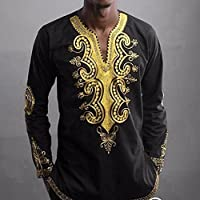 2017 New! Litetao Men Hipster Hip Hop Dashiki Graphic Long Sleeve Top Cool Blouse (XXL, Black)