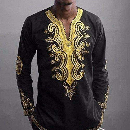 2017 New! Litetao Men Hipster Hip Hop Dashiki Graphic Long Sleeve Top Cool Blouse (XXL, Black)