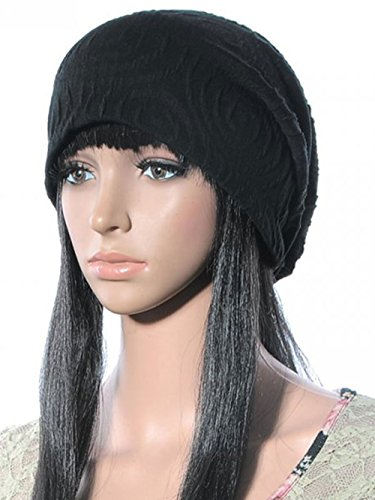 JollyChic Women's Loose Brief Cotton Knit Dome Hat (One Size, Black 2#)