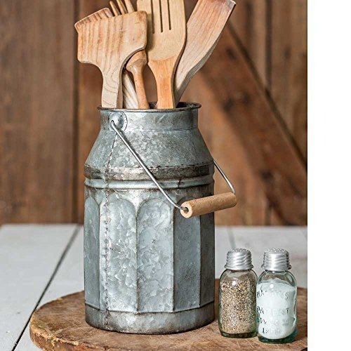 Vintage Galvanized Metal-Decorative Milk Pail w/ Wood Handle by Colonial Tin Works
