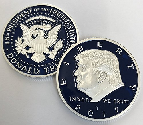 Aizics Mint Limited Edition Blue/Silver 2017 President Donald Trump Inaugural EAGLE Commemorative Novelty Item 38mm. 45th President of the United States of America (Commemorative Novelty)