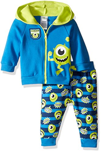 Disney Baby Boys' 2-Piece Mike from Monsters Inc. Hoodie and Printed Jogger Set, Blue, 24 Months (Baby Monsters Inc)