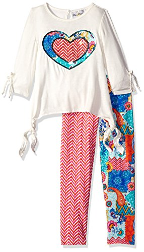 Rare Editions Girls' Little Ivory to 2 Print Legging Set with Sequined Heart Applique, 4