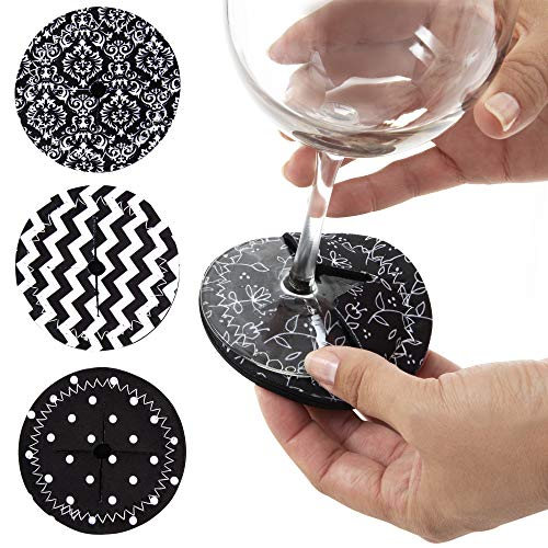 (Coasters for Drinks, Slip on Wine Glass Coasters - Wine Glass Marker Set of 4 - Absorbent Drink Coasters for Glass Stemware, Drinkware - Great for Travel, Outdoors, 4
