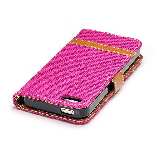 Para iPhone 5 5S 5G / iPhone SE funda, (Vaquero rojo) Dril de algodón de colores mezclados caja del teléfono móvil de cuero PU Leather cubierta Función de Soporte Billetera con Tapa para Tarjetas corr Vaquero rosa roja