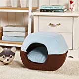 T2C Soft Yurt kennel Washable Dog Warm Bed with Cushion Blue L