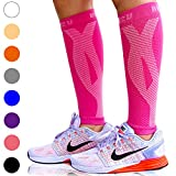 BLITZU Calf Compression Sleeve One Pair Leg Performance Support for Shin Splint & Calf Pain Relief. Men Women Runners Guards Sleeves for Running. Improves Circulation and Recovery Pink L/XL