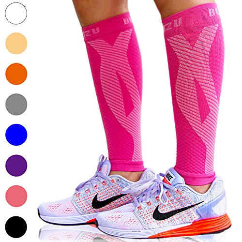 BLITZU Calf Compression Sleeve Socks One Pair Leg Performance Support for Shin Splint & Calf Pain Relief. Men Women Runners Guards Sleeves for Running. Improves Circulation and Recovery Pink S/M (Navy Start Guide)