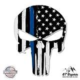 Punisher Skull Thin Blue Line USA Support Police Sticker - 20'' - Large Size Vinyl Sticker - for Truck Car Cornhole Board