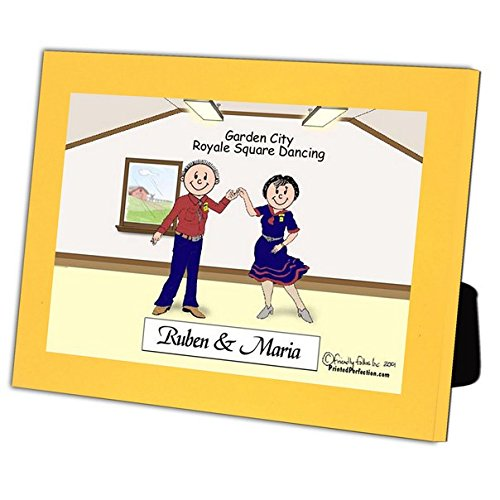 Personalized Friendly Folks Cartoon Caricature in a Color Block Frame Gift: Square Dance Couple by Printed Perfection (Image #2)