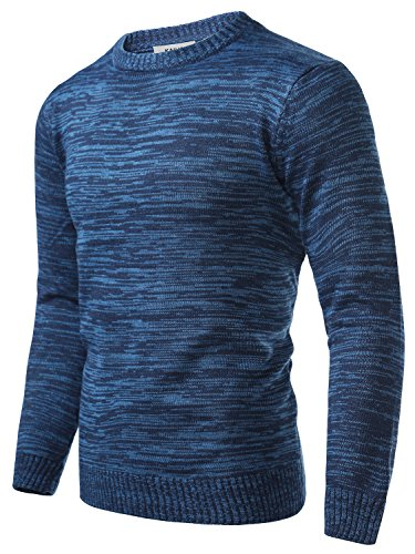 KAIUSI Men's Casual Long Sleeve Color Block Slim Fit Knit Sweater Large Blue #2