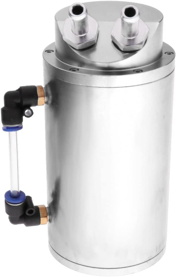 Baoblaze Brand New Durable Aluminum High Capacity Engine Oil Catch Tank Reservoir silver