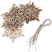 ORYOUGO Wood Snowflakes Shaped Hanging Embellishments Ornaments, Craft Star Heart Shape Slices Wood Xmas Decorations with Strings for Wedding,Crafts, DIY,Pack of 20