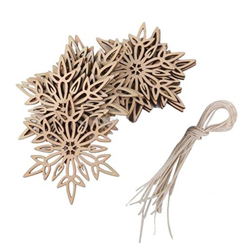 (ORYOUGO Wood Snowflakes Shaped Hanging Embellishments Ornaments, Craft Star Heart Shape Slices Wood Xmas Decorations with Strings for Wedding,Crafts, DIY,Pack of 20)