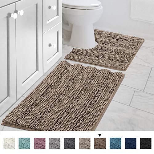 Original Striped Luxury Chenille Bathroom Rug Mat (32