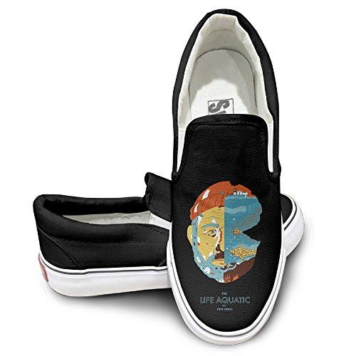 Amone Steve Zissou Bill Murray Canvas Unisex Platte Canvas Schoenen Sneaker Zwart Zwart