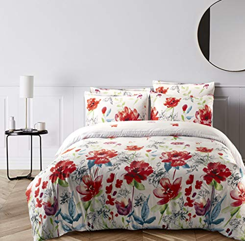 LOKATSE HOME Printed Duvet Cover Set with 1 Pillowcase Soft and Comfortable - Machine Washable (Twin/Colorful) - TOP QUALITY MATERIAL - This printed duvet cover set is made of 100% polyester brushed microfiber for supple softness and strength. Super soft, strong, and wrinkle-resistant, fade-resistant, elegant comfort microfiber is made to look as good as it feels. STYLING BEDROOM - Simple style but elegant colors plus high quality make a difference to your bedroom or home environment. We provide you with this fashion, design excellence. Delicate and beautiful cover can brighten your room. EASY CARE - Cold gentle machine wash, which saves you a lot of time and energy. Tumble dry on low or dry naturally, do not bleach. Two belts designed to secure the batt or blanket or other filler inside the quilt. - comforter-sets, bedroom-sheets-comforters, bedroom - 51I5ce0nsTL -