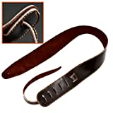 Ts-ideen 6031 Leather Guitar Strap - Black