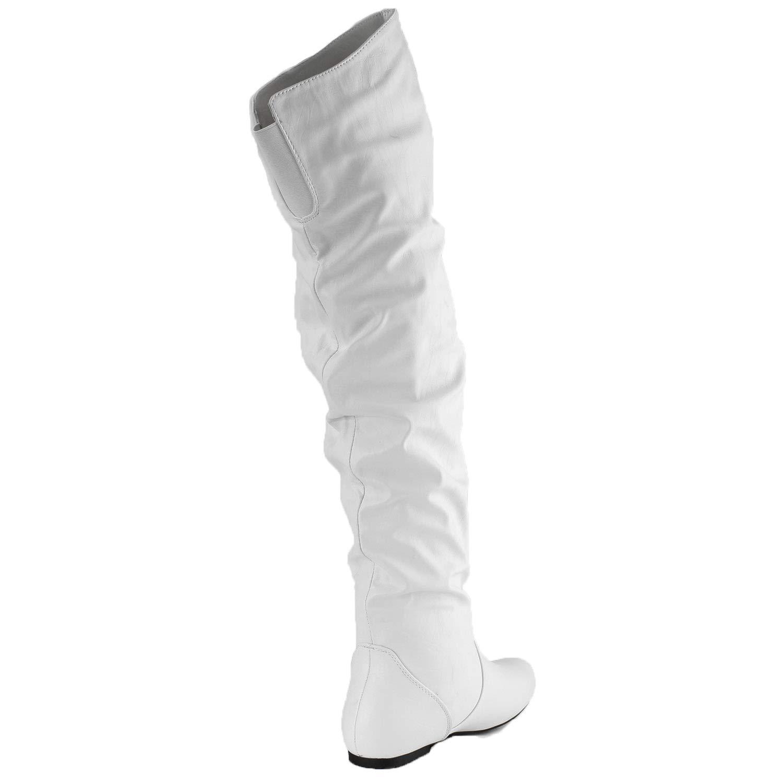 11 B DailyShoes Womens Fashion-Hi Over The Knee Thigh High Boots Fashion-Hi White PU White Pu M