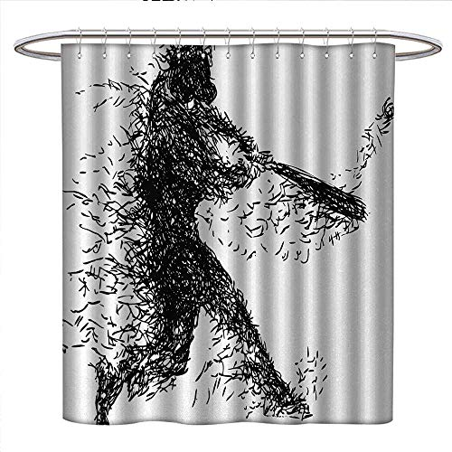 Baseball Player 3 Embroidery - Black and White Shower Curtains Digital Printing Abstract Artistic Illustration of a Baseball Player Posing Grunge Sports Bathroom Accessories W36 x L72 Black White