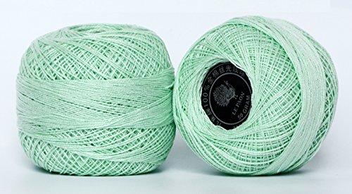 - LE PAON 1000yard 50g size 8 pearl cotton beginning crochet kit, Mercerized cotton floss,Rainbow colors cotton knitting yarn thread for Crochet, Hardanger, Cross Stitch 2 Balls (Color No.:564) ...