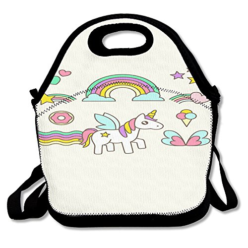 Unicorn Horse Retro Insulated Thermos Polyester Backpack Women Men Kids Teen Girls Black Lunch Bag Tote Lunch Box For Outdoor Office
