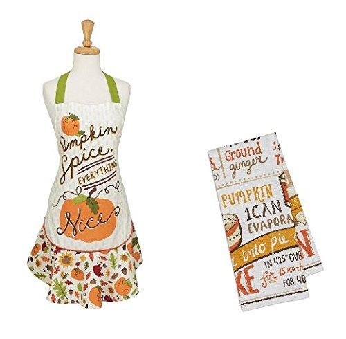 Ayuni Gifts of the World Pumpkin Spice Ruffle Apron with Matching Pumpkin Pie Recipe Print Dish Towel -