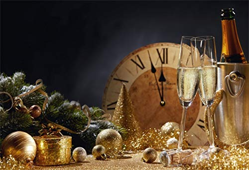 Laeacco Christmas New Year 2019 Backdrop Vinyl 10x8ft Golden Glittering Xmas Balls Party Cap Vintage Clock Dial Countdown Champagne Bucket Background New Year's Eve Party Banner Child Adult Shoot ()