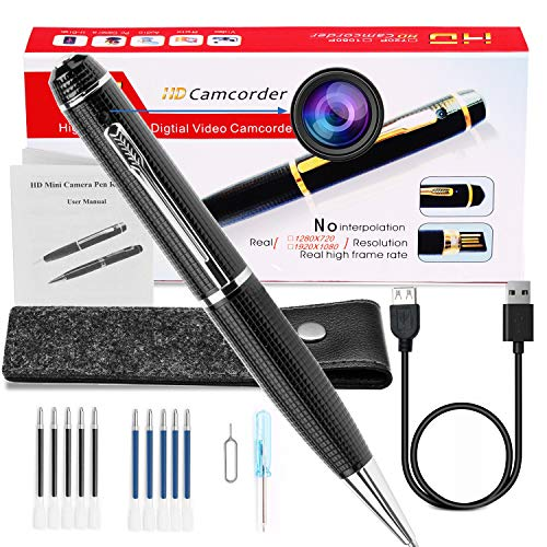 Hidden Spy Camera Pen 1080p, Portable Mini Pen Cameras HD Camcorder Surveillance DVR Camera Video and Photo Quality Clear with 10 Ink Refills and Protected Bag