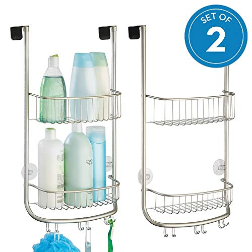 Door 2 Basket - InterDesign Forma Metal Bathroom Over the Door Shower Caddy with Storage Baskets Shelves for Shampoo, Conditioner, Soap, Loofahs, Hand Towels, 12