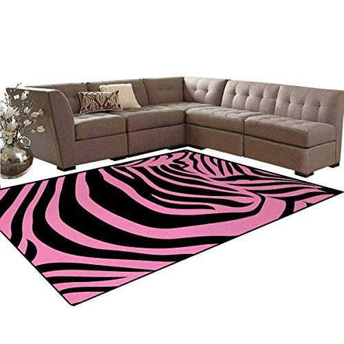 Pink Zebra,Rug,Vibrant Background Zebra Skin Artistic Avant Garde Tribal Punk Indie Wild,Dining Room Home Bedroom Carpet Floor Mat,Fuchsia Black,5'x6' -