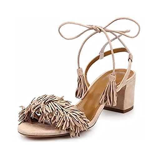 Comfity Block Heels for Women Women's Lace Up Sandals Fringed Tassel Shoes Ankle Ties Dress Sandals 10 M US Nude (Straps Tie That)