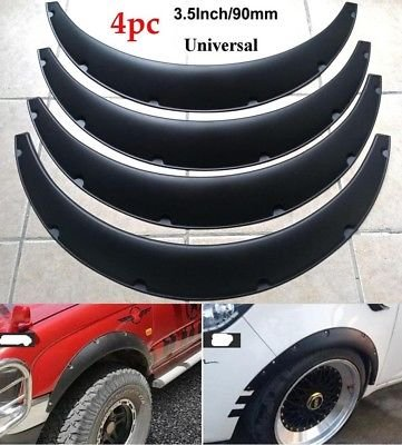 4Pcs 3.5″/90mm Universal Flexible Car Fender Flares Extra Wide Body Wheel Arches