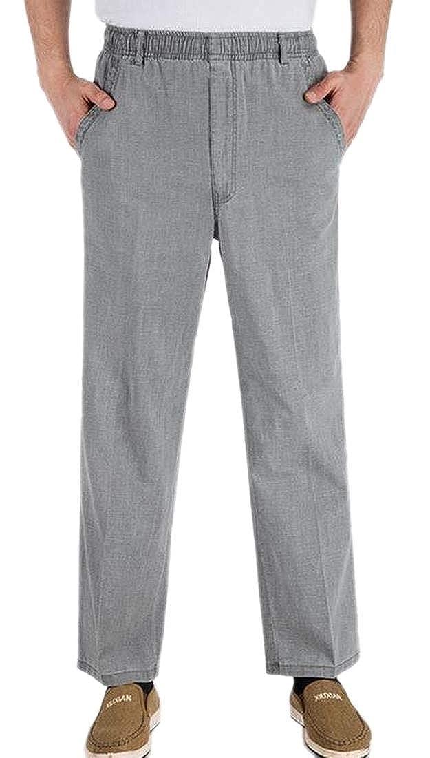 WSPLYSPJY Men Seniors Solid Color Loose Fit Elastic Waist Summer Pants