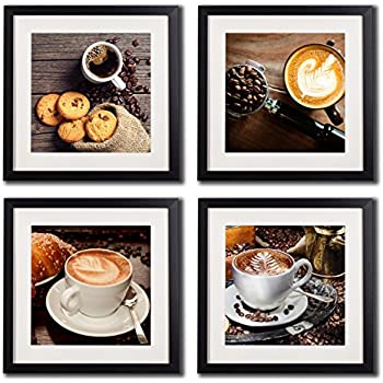 Amazon.com: Coffee Framed Wall Art Decor Posters And Prints Modern ...