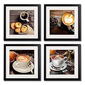 coffee framed wall art decor posters and prints modern still life kitchen artwork painting printed on canvas 4 piece black frame white matte coffee beans