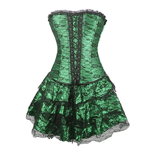 Topmelon Womens Fashion Gothic Boned Corset Bustier Skirt, Green, -
