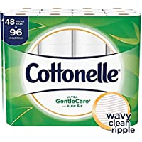 Cottonelle Ultra GentleCare Toilet Paper with Aloe & Vitamin E, Double Rolls, Bath Tissue, 48 Count of 170 Sheets Per Roll