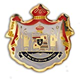 K Chang Hawaii Lapel Hat Pin Coat of Arms #2 Red, Gold Tone One Size