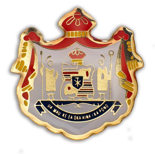K Chang Hawaii Lapel Hat Pin Coat of Arms #2 Red, Gold Tone One Size by K Chang