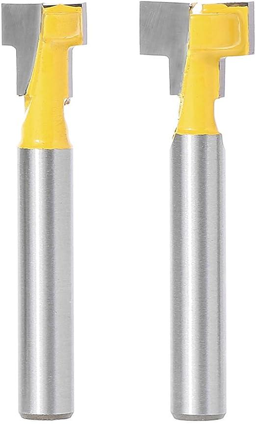 2 Pcs 1//4/'/' Shank Yellow T-Slot Cutter Router Bit Set for 3//8/'/' /& 1//2/'/' Hex Bolt