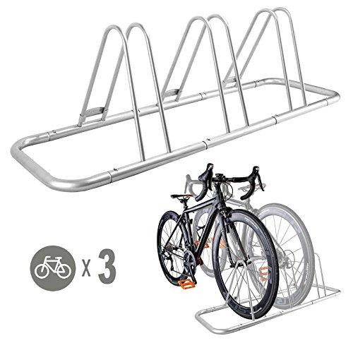 3 Bike Bicycle Floor Parking Rack Storage Stand