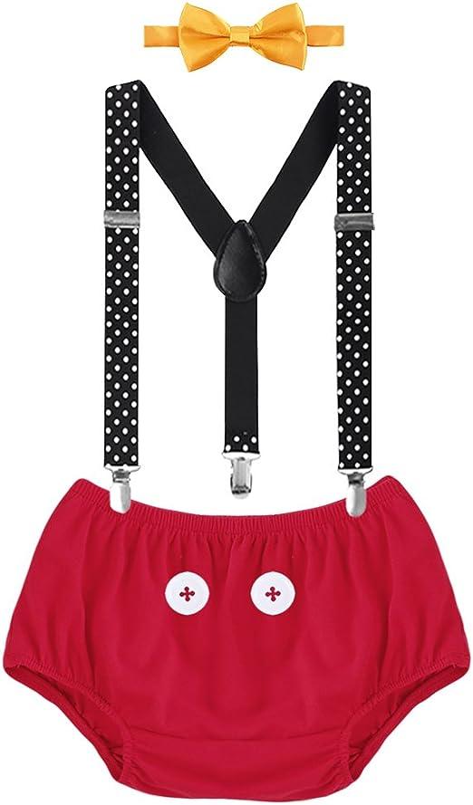 Cravate Costume de Photographie D/éguisement d/'Anniversaire F/ête C/ér/émonie Bapt/ême pour Enfants de 3 Mois /à 18 Mois Bretelle IBTOM CASTLE B/éb/é Naissance Ensemble de 3PCS Bloomer Shorts