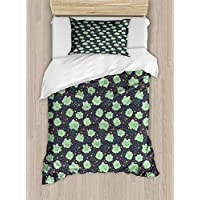 Ambesonne Doodle Duvet Cover Set, Childish Smiling Clouds Raindrops Weather Station Cartoon, Decorative 2 Piece Bedding Set with 1 Pillow Sham, Twin Size, Dark Blue Grey Almond Green